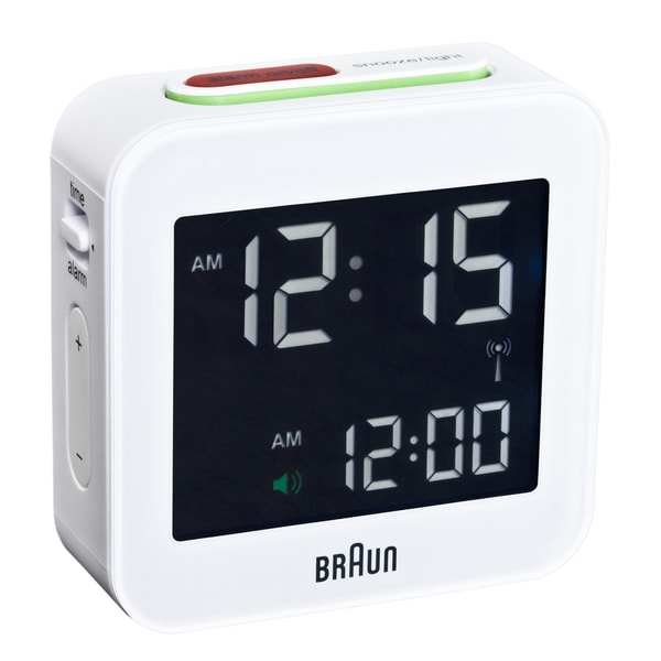 Braun Digital LCD White Travel Alarm Clock