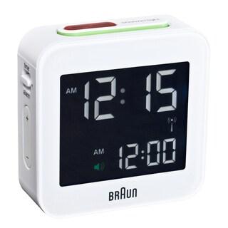 Braun Digital LCD White Travel Alarm Clock