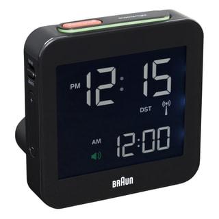 Braun Digital LCD Global Radio Controlled Black Alarm Clock