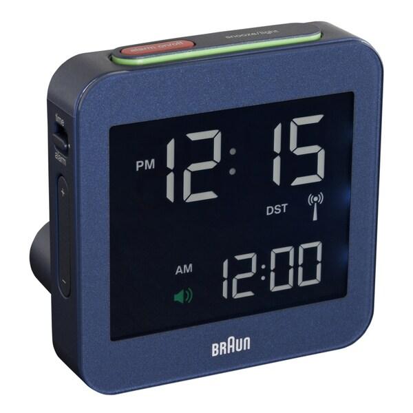 Braun Digital LCD Global Radio Controlled Blue Alarm Clock