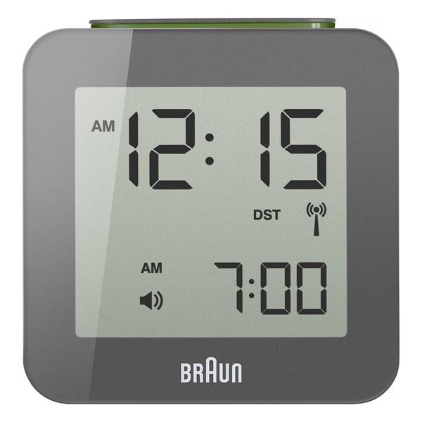 Braun Digital LCD Global Radio Controlled Grey Alarm Clock
