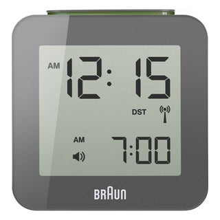 Braun Digital LCD Global Radio Controlled Grey Alarm Clock