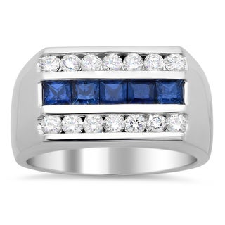 14k White Gold Men's 4/5 ct TDW Diamond and 1 1/2 ct Sapphire Ring (F-G, SI1-SI2)
