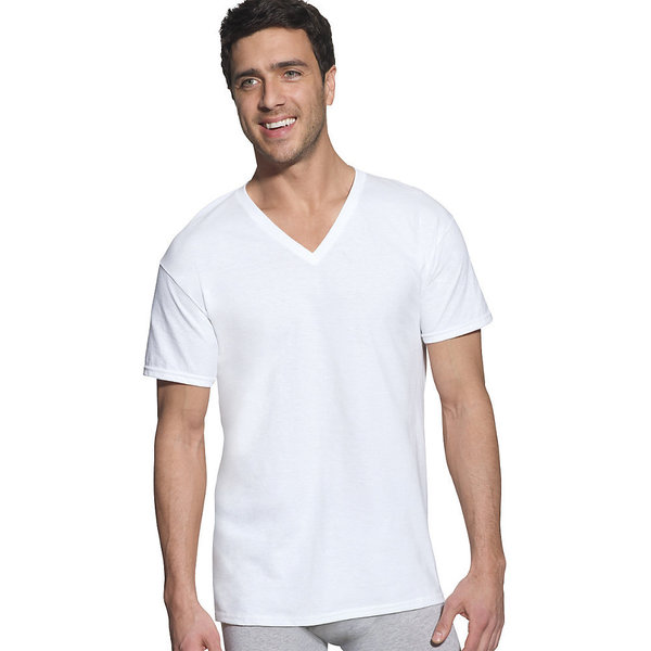 Hanes Classic Mens White V-Neck T-Shirt (Pack of 6)