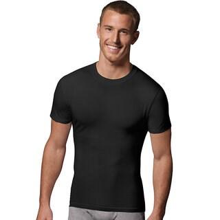 Hanes Classics Power Slim Black Crewneck Undershirt (Pack of 2)
