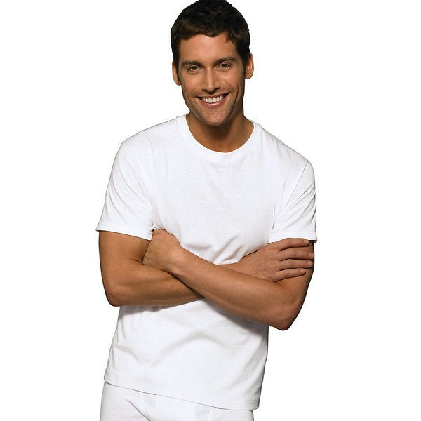 Hanes Classic Mens White Crew Neck T-Shirt (Pack of 6)