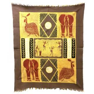 Hand-painted Grey/ Red Dancers and Animals Batik (Zimbabwe)