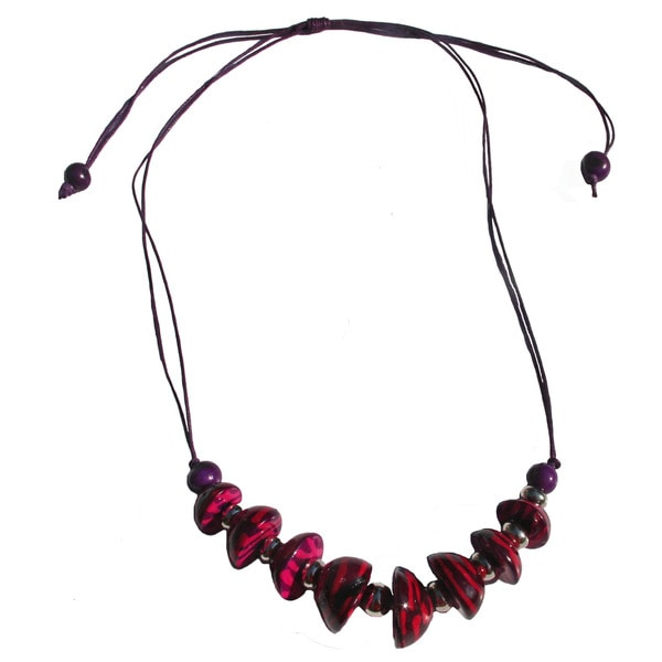 Purple Pink Bombona Necklace (Colombia)