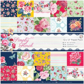 """Papermania Paper Pack 12""""X12"""" 32/Pkg-Simply Floral"""