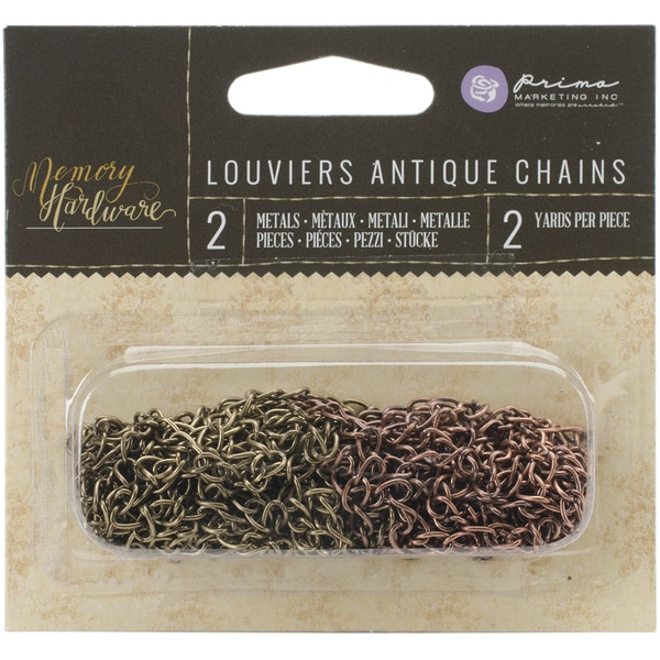 Memory Hardware Embellishments-Louviers Antique Metal Chains, 2yd 2/Pkg