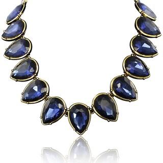 Passiana Blue Crystal Pear Strand Necklace