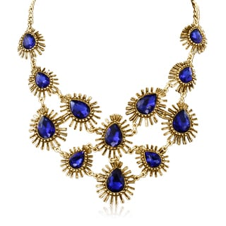 Passiana Blue Crystal Starburst Bib Necklace