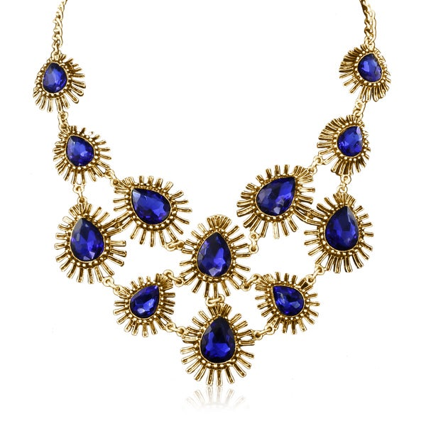 Passiana Blue Crystal Starburst Bib Necklace