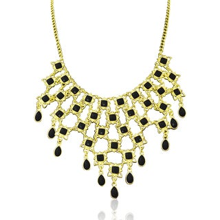 Passiana Black Floral Bib Necklace