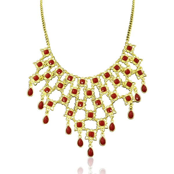 Passiana Red Floral Bib Necklace