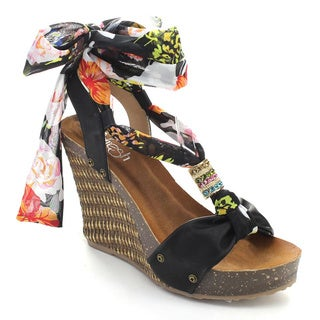 Refresh SHANIA-07 Women's Floral Pattern Printed Platform Strappy Wedges