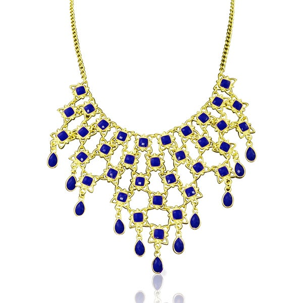 Passiana Blue Floral Bib Necklace