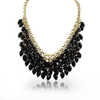Passiana Black Crystal Waterfal Bib Necklace