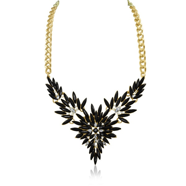 Passiana Black and White Crystal Flower Bib Necklace