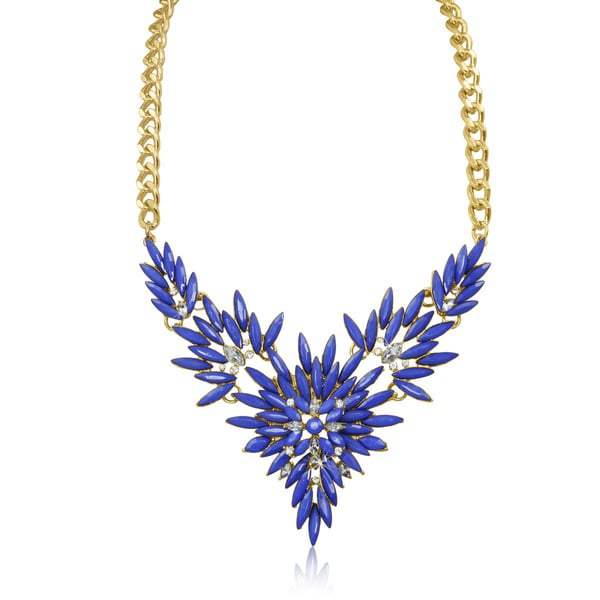Passiana Blue and White Crystal Flower Bib Necklace