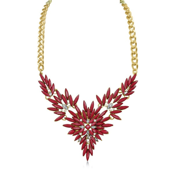 Passiana Red and White Crystal Flower Bib Necklace