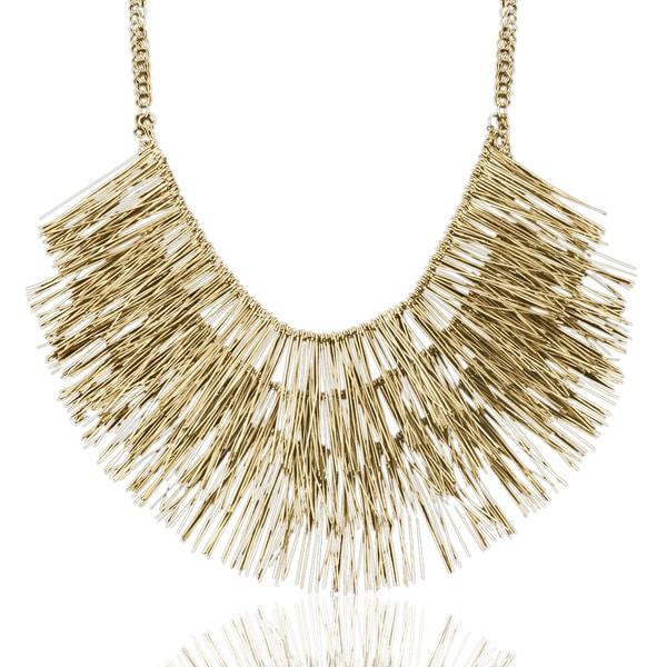 Passiana Antique Gold Fringe Necklace