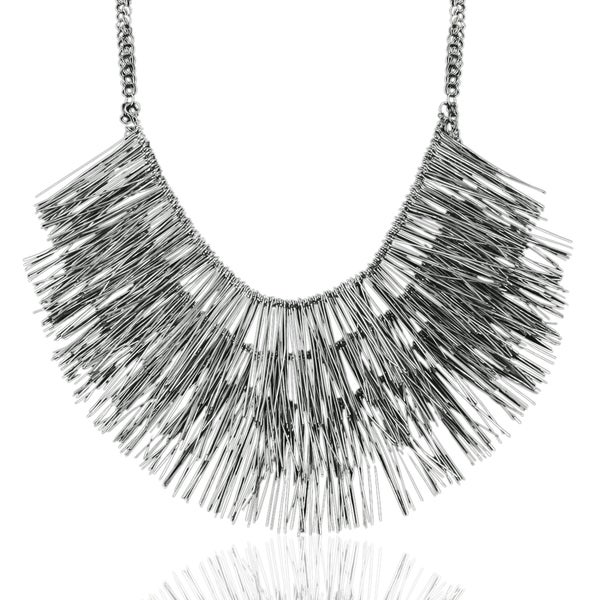 Passiana Gunmetal Fringe Necklace