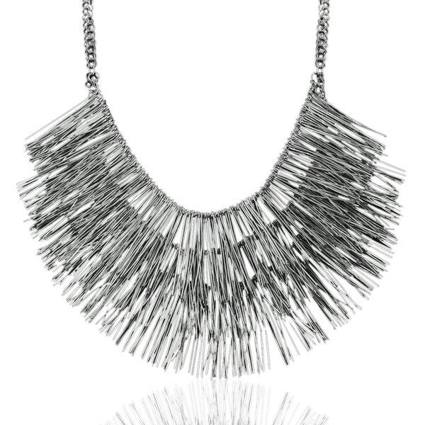 Passiana Gunmetal Fringe Necklace