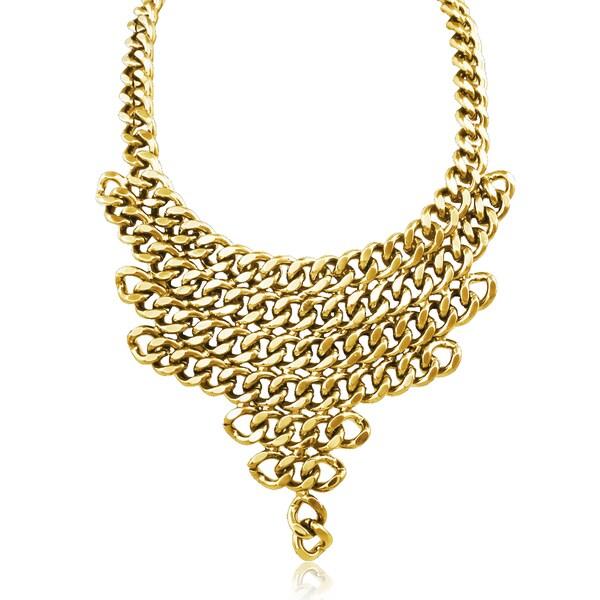 Passiana Gold V Shaped Chain Bib Necklace