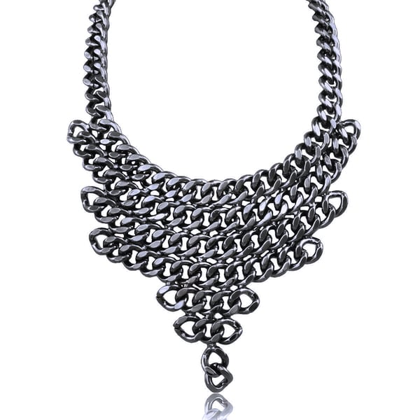 Passiana Gunmetal V Shaped Chain Bib Necklace