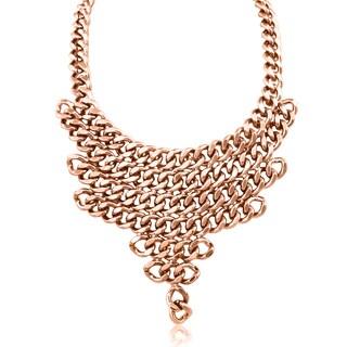 Passiana Rose V Shaped Chain Bib Necklace