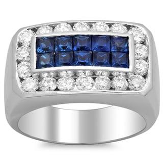 14k White Gold Men's 2 1/10ct TDW Diamond and Sapphire Wedding Band (F-G, SI1-SI2)