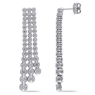 Miadora Signature Collection 18k White Gold 3ct TDW Diamond Dangle Chandelier Earrings (G-H, SI1-SI2)