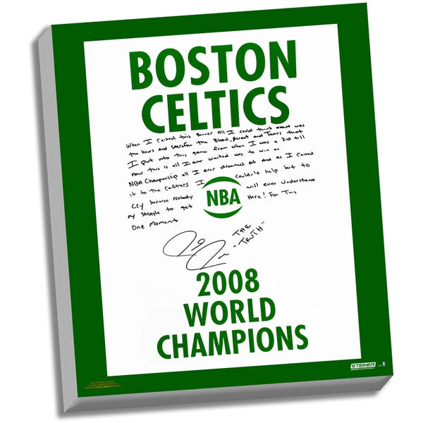 Paul Pierce Facsimile '2008 Champions Banner' Stretched 22x26 Story Canvas