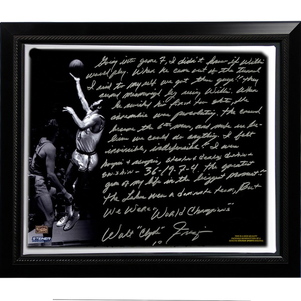 Walt Frazier Facsimile 'The Willis Reed Game' Framed Stretched 22x26 Story Canvas
