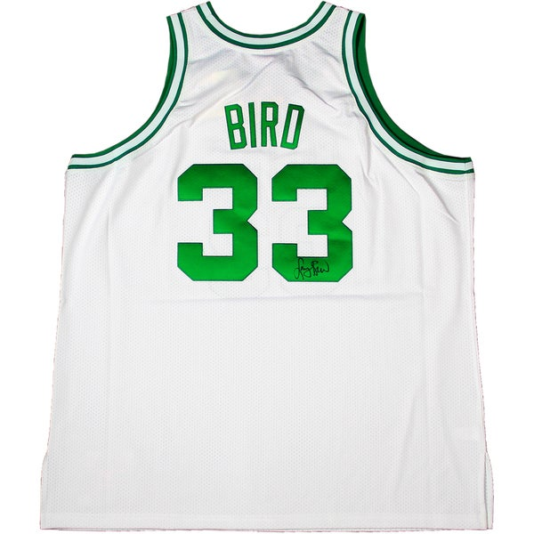 Larry Bird Signed Authentic White Celtics Jersey (Signed In Black)