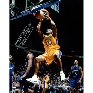 Shaquille O'Neal signed Lakers two handed dunk in Gold 16x20 Photo