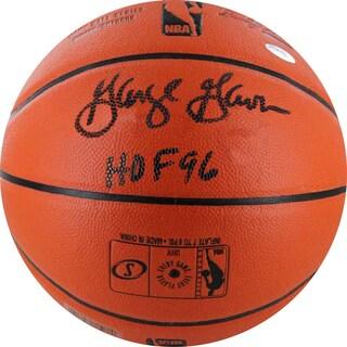 """George Gervin Signed I/O NBA Orange Basketball w/ HOF 96"""" Insc."""