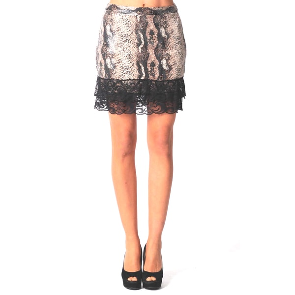 Sara Boo Animal Print Lace Skirt