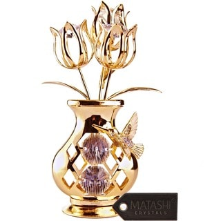 Beautifully Crafted Flowers in Vase Dipped in 24k Gold Plating with Swarovski Elements Crystals By Charming Temptations