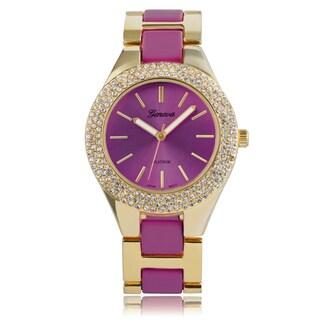 Geneva Platinum Rhinestone Color Pop Link Watch