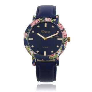 Geneva Platinum Rhinestone Round Face Floral Accent Faux Leather Band Watch