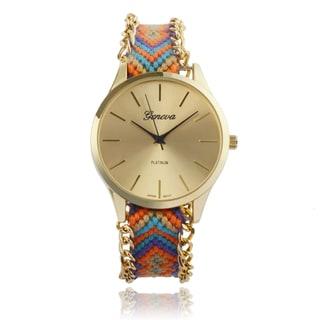 Geneva Platinum Woven Thread Weave Watch