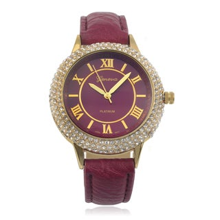 Geneva Platinum Rhinestone Accent Round Face Faux Leather Band Watch