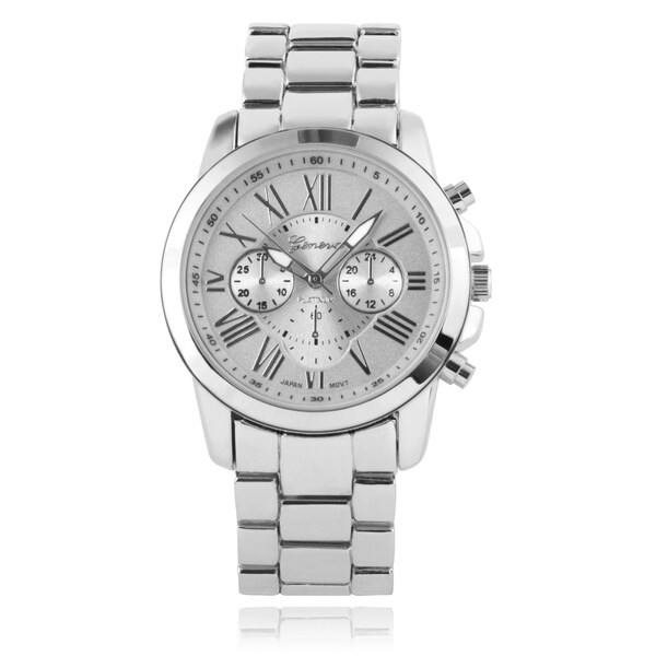 Geneva Platinum Roman Numeral Fix Tachymeter Round Face Link Watch