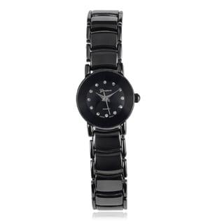 Geneva Platinum Rhinestone Marker Round Face Link Band Watch