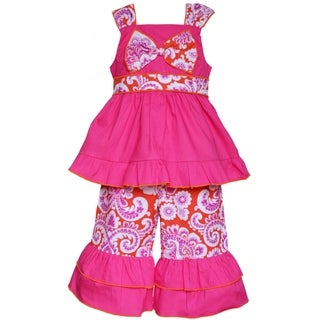 AnnLoren Boutique Girls Hot Pink & Orange Damask Tunic with Capris 2 piece outfit