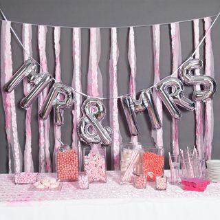 """34"""" MR&MRS Balloon Kit, Silver"""