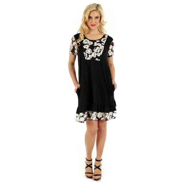 Firmiana Women's Short Sleeve Black & White Dress with Floral Pattern Lace and Ruffle