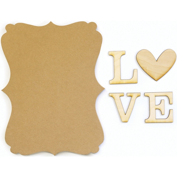 "Art Play MDF Word Plaque With Words 8.5""X11""X.5""-Love"